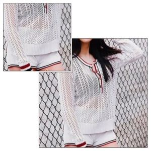Volcom Stone Row Sweater and Crochet Shorts L M